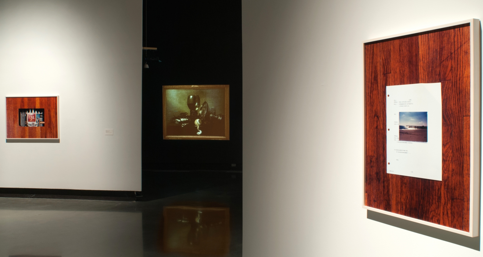 Installation view of Harun Farocki, 'Still Life,' 1997 and Leslie Hewitt, Riffs on Real Time (4 of 10), Right, (5 of 10), Left, 2013.
