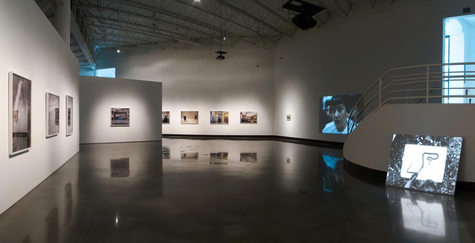 Installation view, Jeff Whetstone (left), Jumana Manna (right) and Pedro Lasch (back wall)